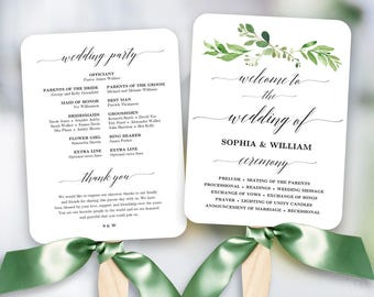 Greenery Wedding Fan Program Printable Wedding Fan Program - Free printable wedding program templates
