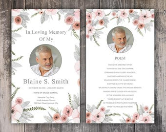 Funeral Prayer Card Template | Editable MS Word & Photoshop Template | Instant Download