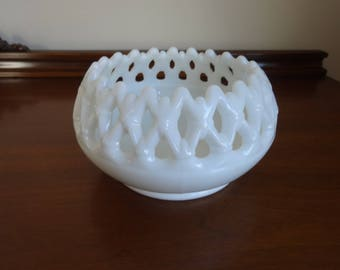 Milk Glass Rose Bowl or Candle Holder by Westmoreland with Doric Lace Edge or Open Lace Edge Great Wedding Decor Great Gift Idea