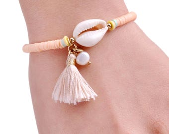 Boho cowrie shell bracelet / / / Fimo beads / cowry shells / mother of Pearl bead / tassel / pendant