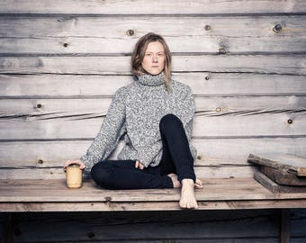Women's Turtleneck Sweater // Wool Turtleneck // Wool Turtleneck Top // Charcoal Turtleneck // Thick Sweater // Winter Turtleneck // Gray