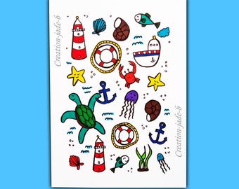 Map postcard Doodles sailor 10,5 x 14,8 cm