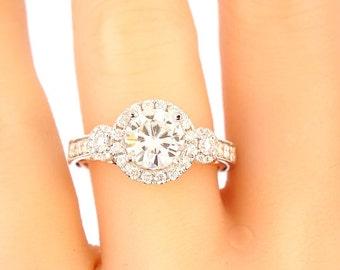14K White Gold Diamond 1.00 Round Brilliant Diamond Center Stone Engagment Ring Wedding Ring Promise Ring Anniversary Ring Alternative Ring