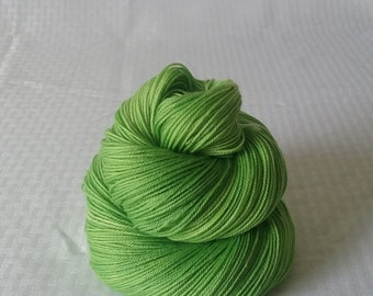 "Hand dyed Yarn / Handdyed Yarn, Sock Yarn, Slight Gradient Yarn - ""Green Apple"" Tonal Yarn –  75/25 Superwash Merino and Nylon – 100g"