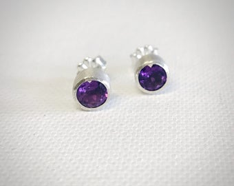 Amethyst Stud Earrings - Sterling Silver - Modern Earrings - Silver Earrings - February Birthstone