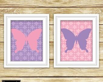 Butterfly Art Pink Purple Girls Bedroom Nursery Butterflies Room Decor Printable Set of Two 8x10 Digital JPG Instant Download (41)
