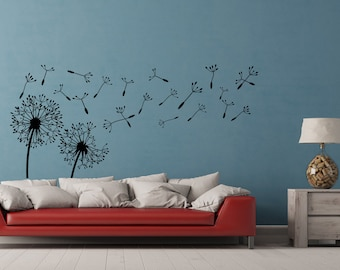 Dandelion Wall Decal- Dandelion Wall Art- Dandelion Seeds Blowing In The Wind Wall Decal Sticker- Flower Wall Decal- Nature Wall Decal #28