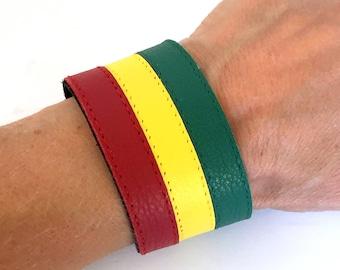 Rasta bracelet, rasta cuff, rasta leather cuff, rasta jewelry, rastafarian jewelry, rastafarian cuff, red yellow green bracelet.