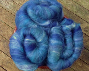 Hand Carded Batts, 110g total, spinning wool, merino, sea cell, blue, green, turquoise