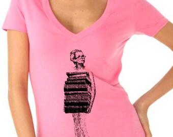 book tshirt - book shirt - womens tshirt - vintage tshirt - book lover - book gift - librarian gift - book worm - JUST BOOKS - deep vneck