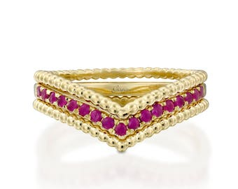 Ruby Wedding Ring, Ruby Engagement Ring, Art Deco Ring, 14k Gold Ring, Milgrain Ring, Triangle Ring, Anniversary Ring, Promise Ring