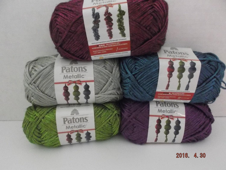 Patons Metallic Yarn ~ Purple ~ 60 Grams ~ 168 Yards ~ #4 Medium ...