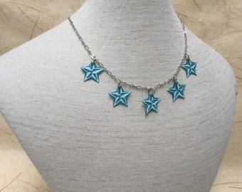 Up-cycled Recycled Aluminum Soda Can Necklace - Aqua blue and white aluminum 5 star necklace