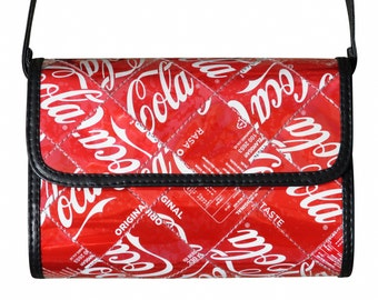 Crossbody bag made from Coke can, FREE SHIPPING purse red shoulder sling vegans coca cola fans lover lovers pepsi soda cans tin drinking fun