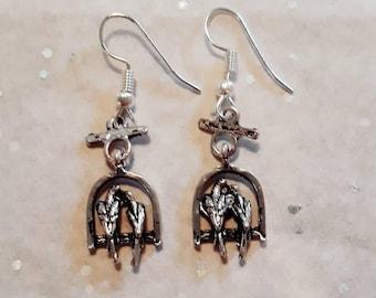 Earrings birds love, handmade silver earrings with pair, romantic