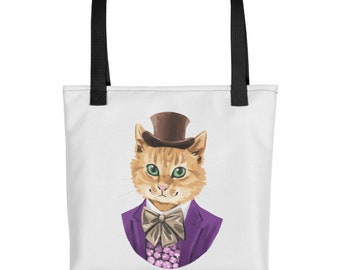 Willy Woncat Tote Bag - Unique Gift - Printed Bag - Colourful