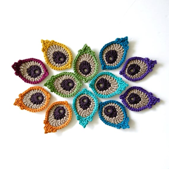 Crochet Motif Pattern Peacock Eye Feather Photo Tutorial