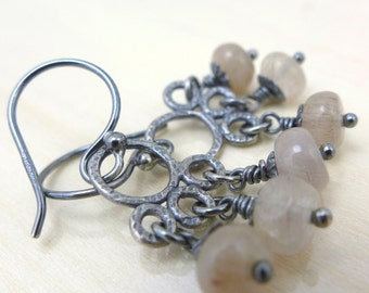 Rustic Earrings Sterling Silver Chandelier Earrings Textured Silver Organic Oxidized Dangling Quartz Light Sand Pebbles One of a Kind