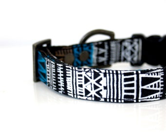 Aztec Triangle BOHO Dog Collar - black, blue, white - Antique brass