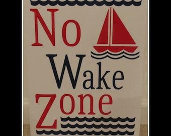 No Wake Zone Nursery Sign - Sailboat and Waves - Boy or Girl - Vinyl