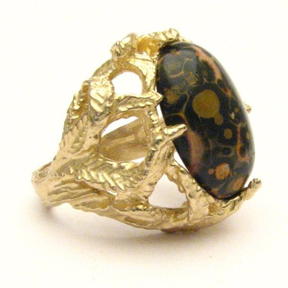 Handmade 14kt Gold Leopard Skin Agate Claw Ring