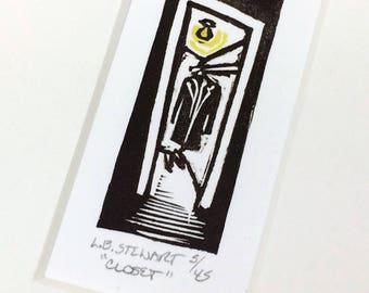 SALE - Closet - Identity Crisis - Hiding - Fear - Linocut Printmaking - Block Print - Wall Art - Black and White - 5x7
