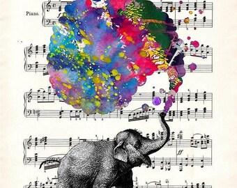 ELEPHANT RICHARD WAGNER Art Giclee Print Art Poster Watercolor Wall Decor Mixed Media Digital Gift
