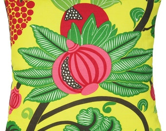 Sale reduced from 18.99 to 16.99 Yellow Cushion Cover Pink Green Pomegranate Throw Pillow Case Linen Fabric Maharani