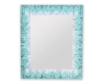 Beach House Mirror for Wall in Mosaic Glass Tiles – 20x24 Mirror or 3 Other Sizes