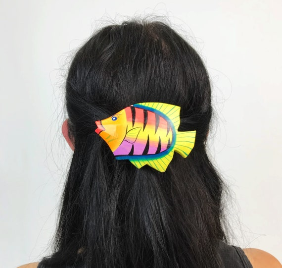 Vintage Fish Hair Clip - Wooden Painted Statement Beach/Summer French Clip Hair Accessory - Large Colorful Fun Barrette Animal Hair Clip