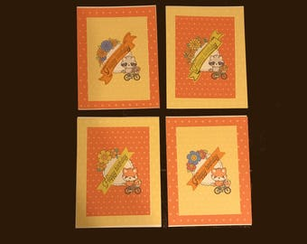 Set of 4 Orange And Yellow Dots Birthday Cards with Envelopes Blank Inside