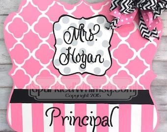 Personalized Teacher Sign Assistant Principal - Classroom Decoration, End of year gift, door hanger, door decor