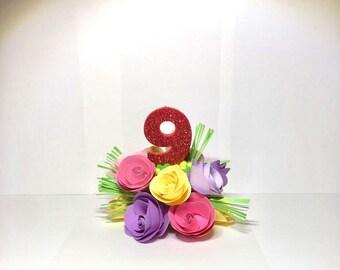 Flower center piece/ candle holder/ cake topper