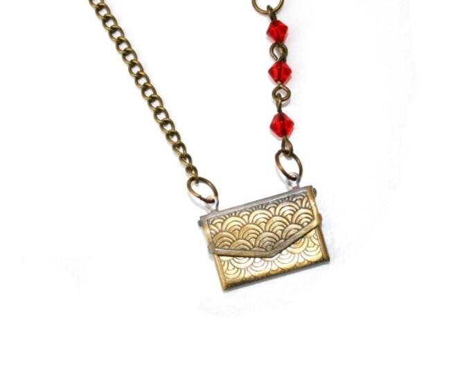 Love Letter Necklace, Locket Necklace, Antique Brass Finish, Vintage Style
