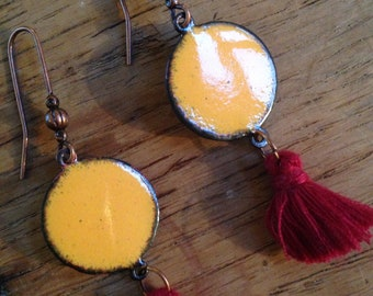 Orange yellow enameled copper earrings + tassels