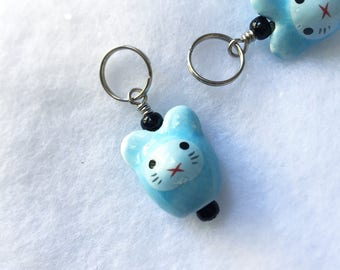 Sunōbanī: Individual Snow Bunny Stitch Marker for Knitters & Crocheters