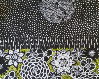Pen and Ink Drawing Night Garden and Full Moon
