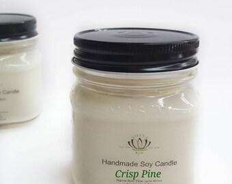 Crisp Pine Soy Candle Mason Jar in 2 sizes