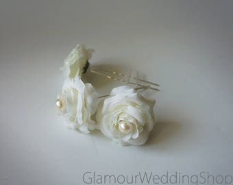 Wedding Hair Pin Bridal Hair Pins  Flowers hair pin Bridal Headpiece Bridal Hairpiece Wedding Hair  Set of 3