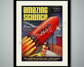 Retro Space Rocket - Personalized Art print
