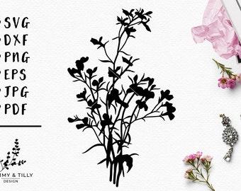 Meadow Flowers Design - Papercut, Machine Cut & Clipart - SVG DXF PNG Eps Pdf Jpg