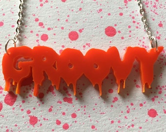 Laser Cut Evil Dead Ash Groovy Drippy Horror Font Acrylic Necklace