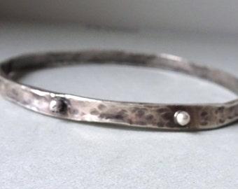 Silver Rustic Bracelet, Hammered Stacking Bangle, Earthy Organic Bangle Granulated Bracelet, Oxidized jewelry, Shillyshallyjewelry