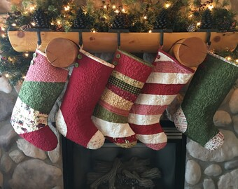 One (1) Single Quilted Christmas Stocking, Country Christmas Stocking, Farmhouse Christmas Stocking, Rose Cottage Patterns