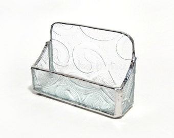 Glass Business Card Holder Stained Glass Clear Handmade OOAK