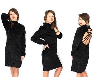 Vintage Black Velvet Dress - 90s Crushed Velvet Dress  - 90s Black Velvet Mini Dress - Criss Cross Back Velvet Dress - Velvet Mini Dress
