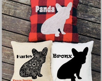 Personalized French Bulldog Pillow - Silhouette Pillow - Dog Pillow Cover - Buffalo Plaid Pillow - Burlap Pillow - Dog Decor - Frenchie