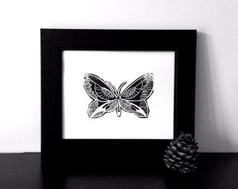 Hand pulled Butterfly Linocut Art Print 8x10 for children