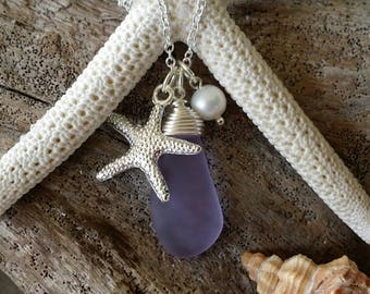 """Handmade in Hawaii, Wire wrapped """"Magical Color Changing"""" Purple sea glass necklace, Sea starfish charm"""