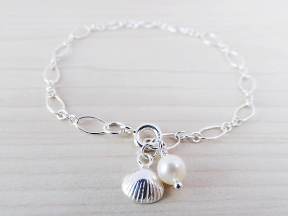 Silver Bracelet With Pearl & Shell - Sterling Silver